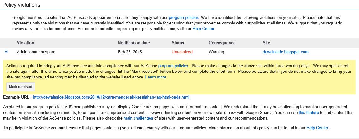 Peringatan Pelanggaran Aturan Google Adsense