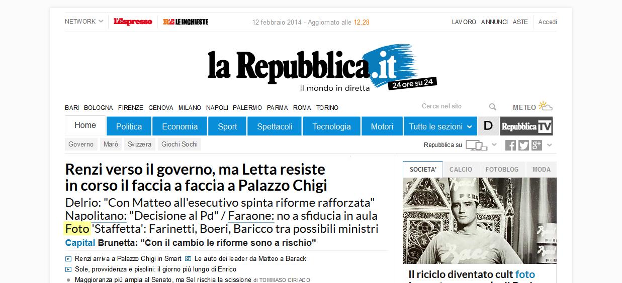 Diario nel web febbraio 2014 for Home page repubblica