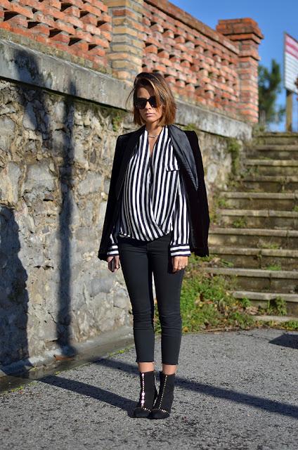 outfit do dia - riscas preto e branco