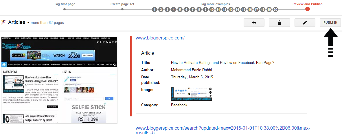 publish data page