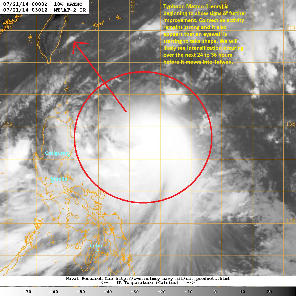 latest satellite image suggest that typhoon matmo may be starting to show signs of intensification again the convective activity remains but it also