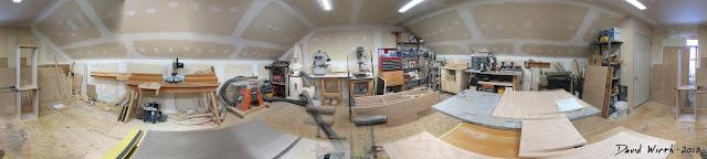 wood shop panorama, 360 view of shop, saw, garage