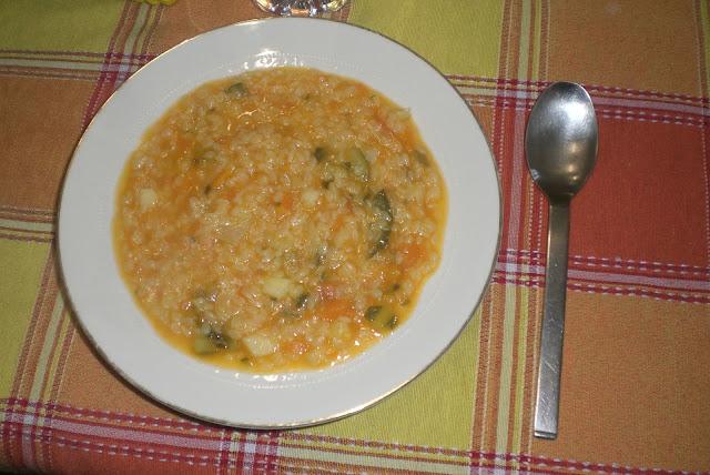 la minestra con la vellutata di verdure
