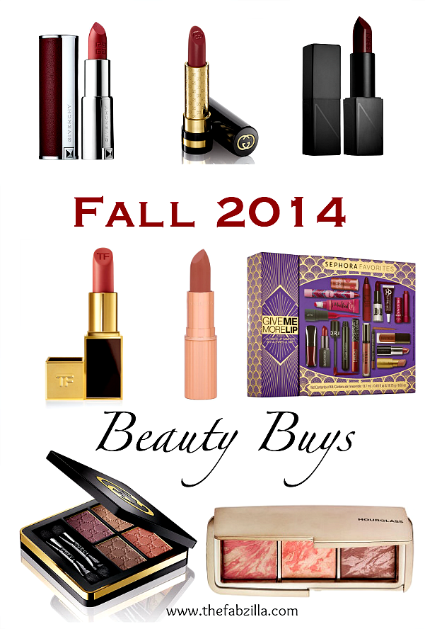 Fall 2014 Beauty Buys, Givenchy, Gucci Beauty, NARS Audacious, Tom Ford Beauty, Charlotte Tilbury, Sephora Favorites Give Me More Lip Collection, Hourglass Ambient Lighting Blush Set