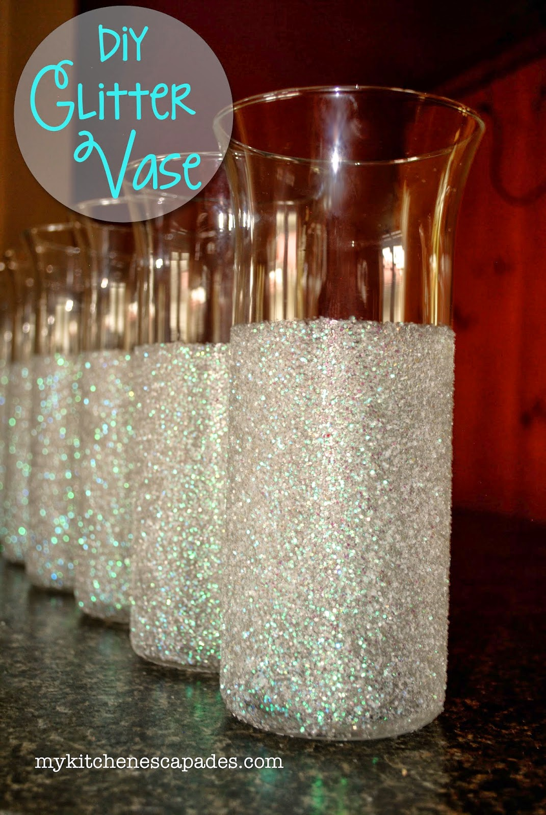 diy glitter vase - Christmas Vase Decorations
