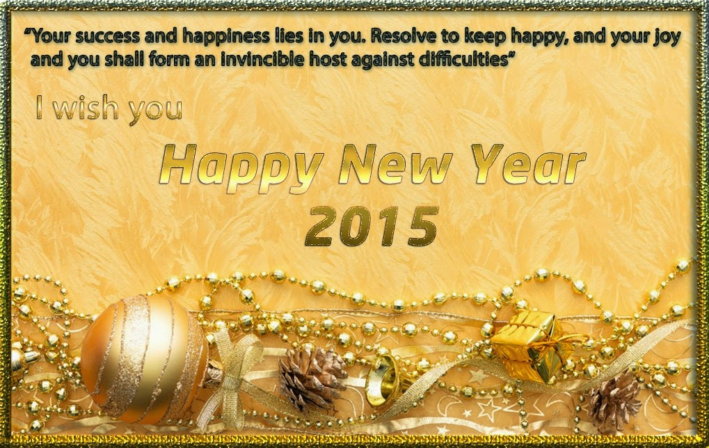 Golden Happy New Year Wishes Holiday Cards 2015 Images