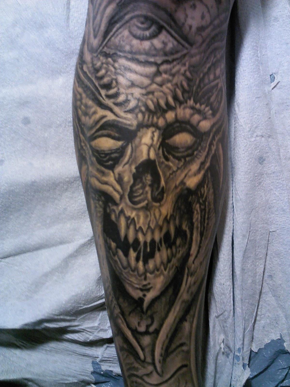 tattoosbychrisamlie demon skull tattoo biomech tattoo. Black Bedroom Furniture Sets. Home Design Ideas