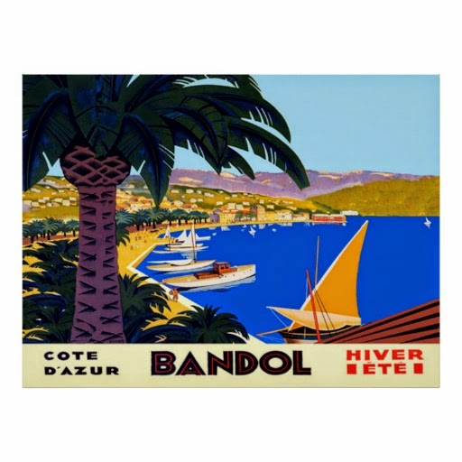 Vintage Cote D'Azur Bandol French Travel Poster