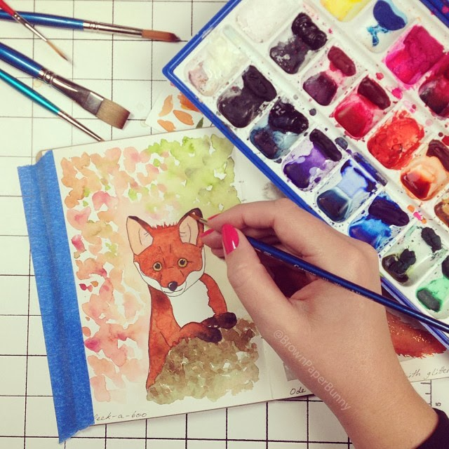 Cute baby fox illustration painted in watercolor by Jessica Mack Brown Paper Bunny