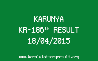 Karunya KR 186 Lottery Result 18-4-2015