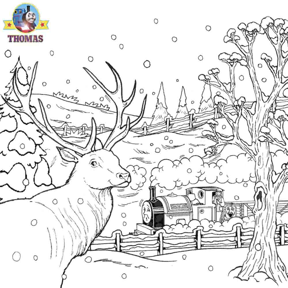Train coloring pages for toddlers - Small Pretty Reindeer Peter Sam Thomas The Train Coloring Pages Kids Christmas Pictures To Print Out