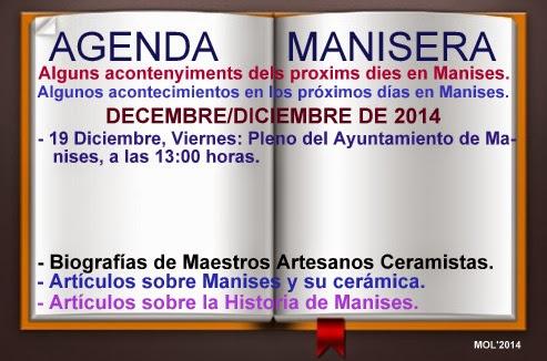 AGENDA MANISERA, SEMANA 51 DE 2014.