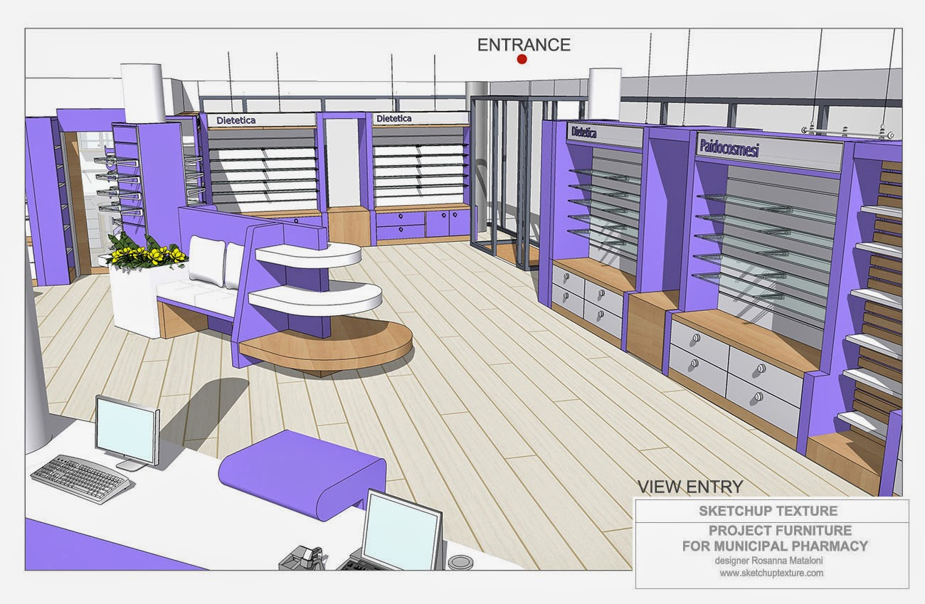 Sketchup texture how to design a modern pharmacy 3d for Furniture 3d design