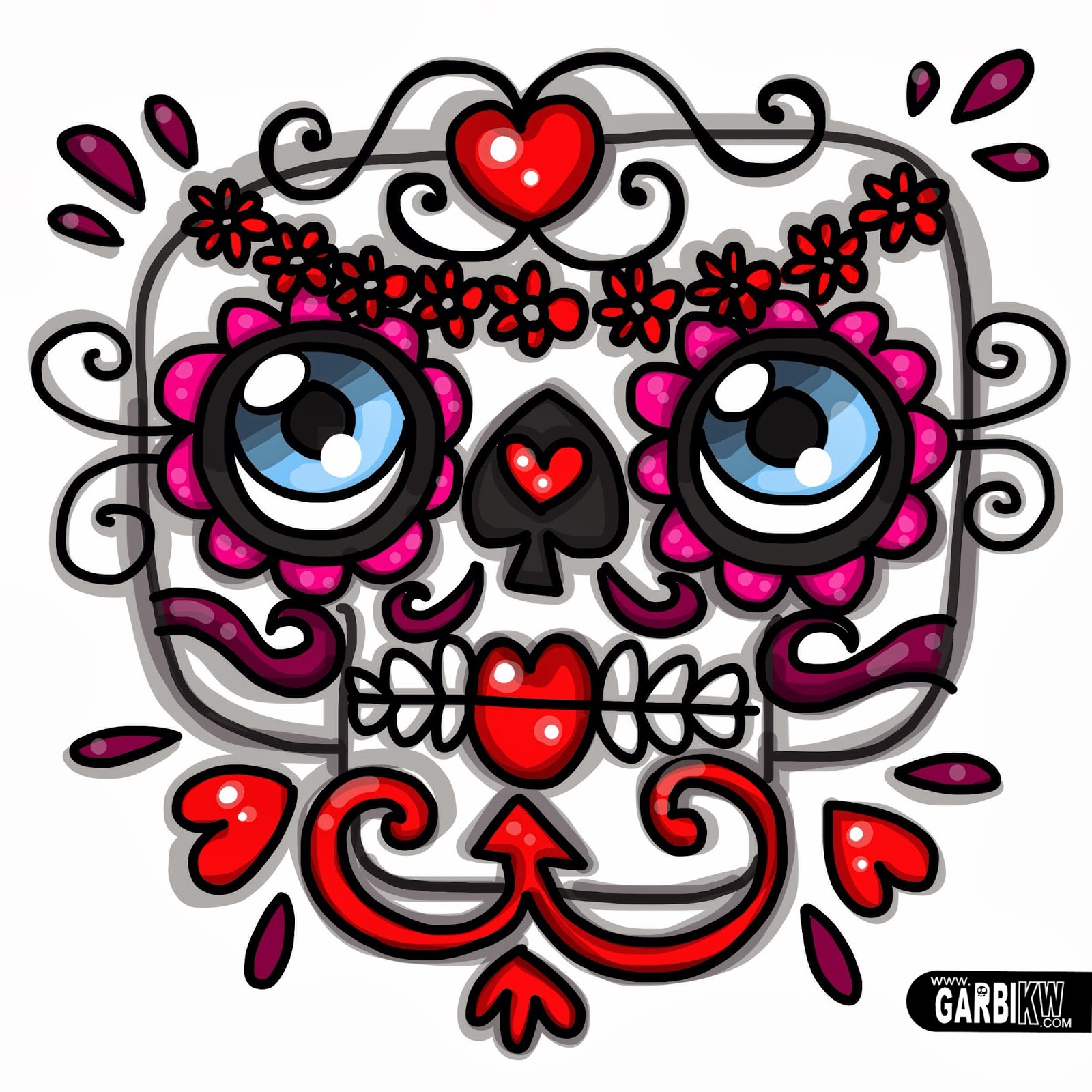 Cómo dibujar una Catrina , Calavera mexicana , Dibujos sobre el día de los muertos por Garbi KW