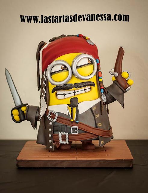 Tarta 3d Minion Jack Sparrow
