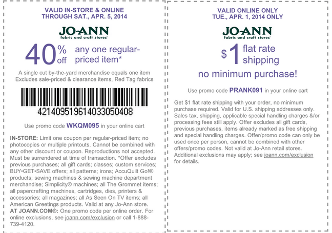 Joann coupons august 2019