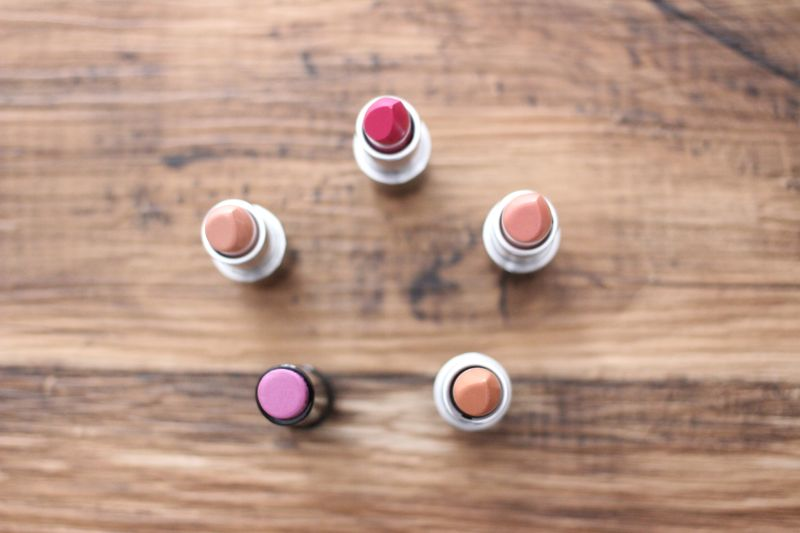 MAC Lipstick in Pure Zen, Japanese Maple, Freckletone, Asian Flower, Girl About Town