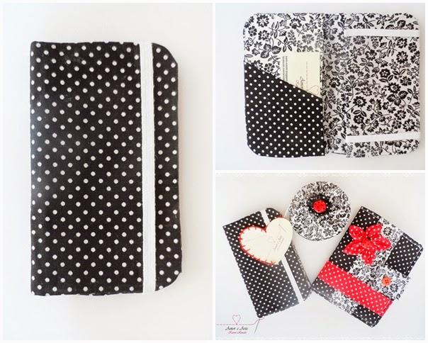 Case para celular, feito em cartonagem, nas cores preto poá e branco floral.