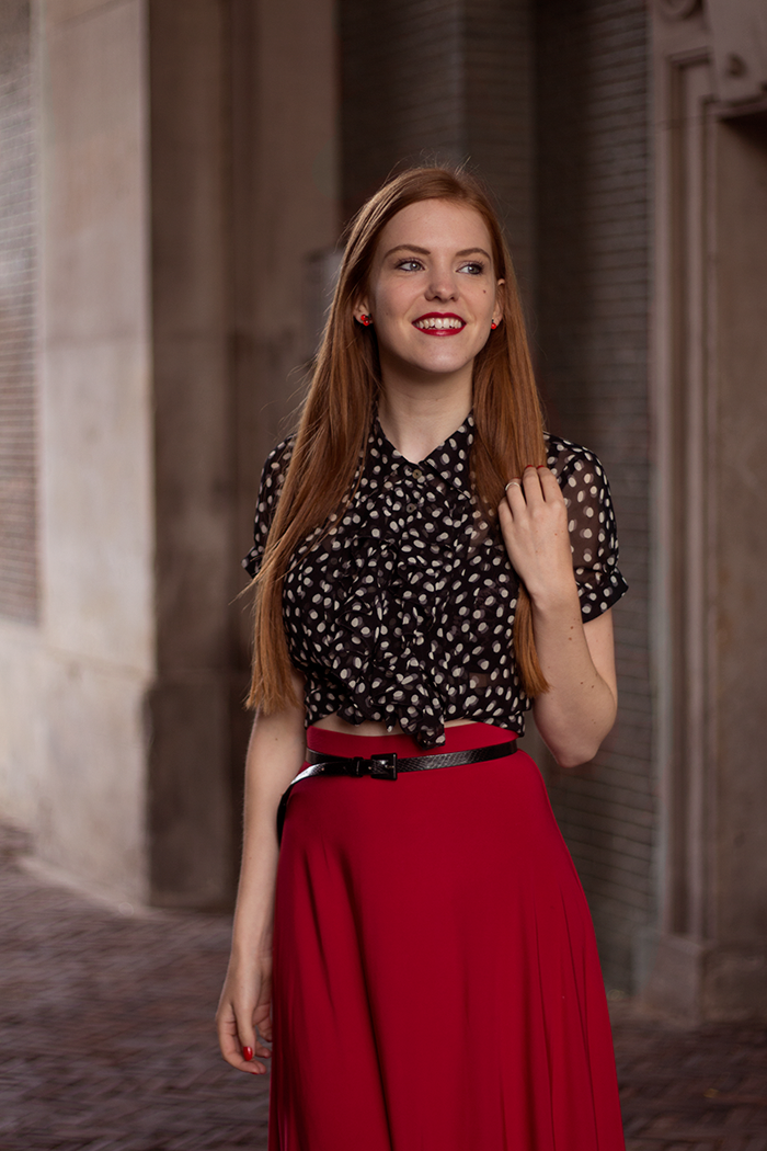 Red Sonja fashion blogger outfit red midi skirt polka dot blouse