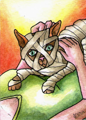Cat Mummy Egyptian Mummified Art Trading Card Watercolor Painting