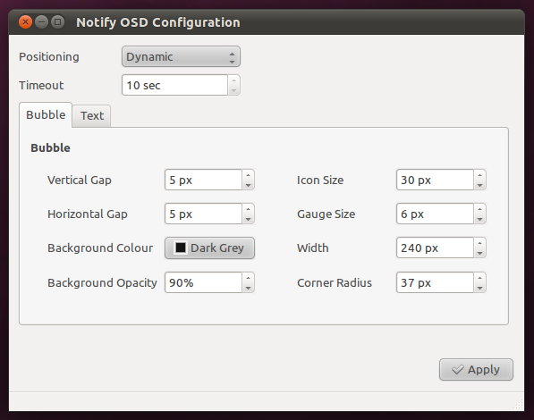 Konfigurasi NotifyOSD dengan NotifyOSD Config