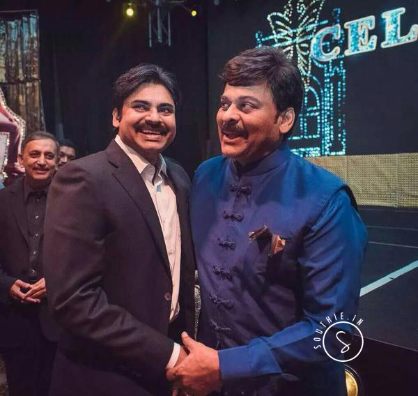 Mega Family-Mahesh Babu and NTR make Fans Happy. Pawan Kalyan and Megastar Chiranjeevi hug it out at the Meega 60 Birthday Bash. This picture is more valuable to the fans than any records.