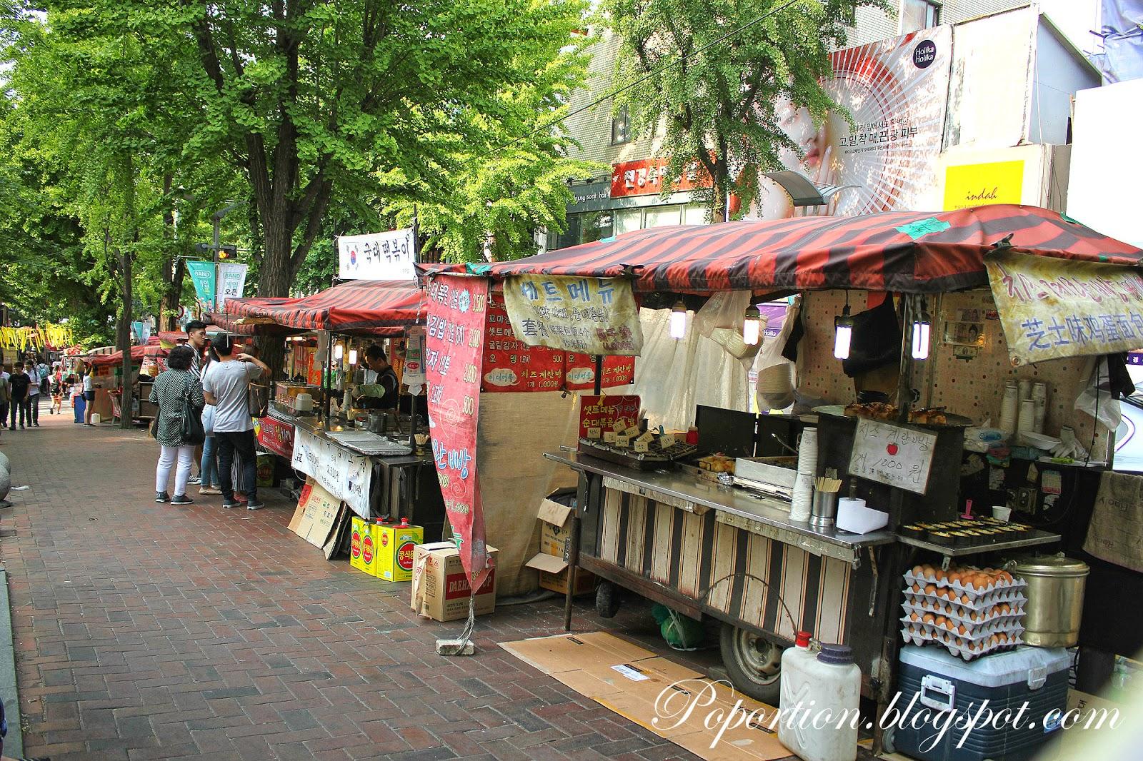 ewha womans university shopping street korean street food egg bread