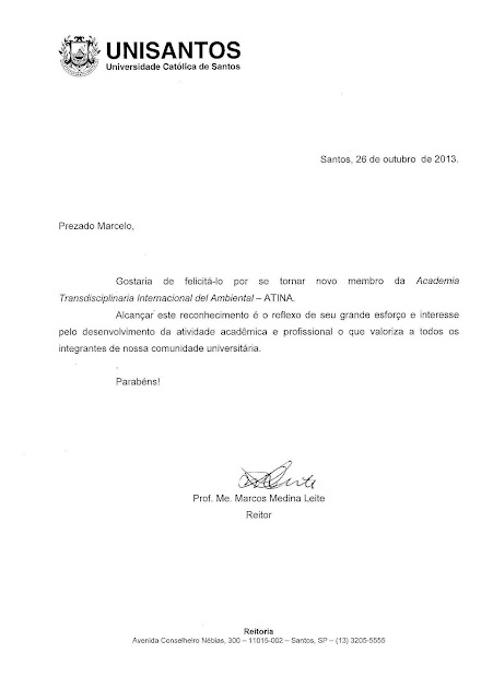 CARTA DE RECONHECIMENTO ENCAMINHADA PELO REITOR DA UNISANTOS PARA MARCELO GIL - 2013
