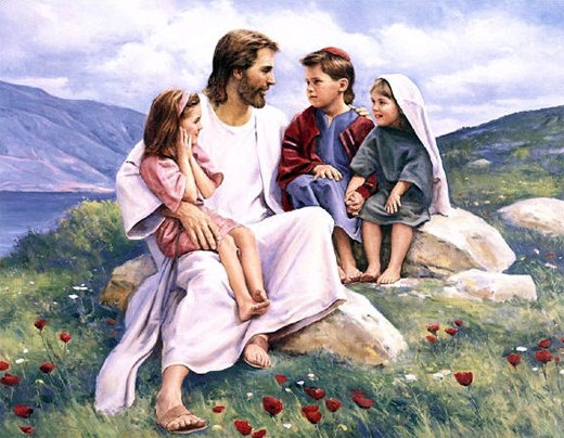 Jesus smiles with children