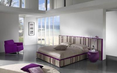 diseño de dormitorio tonos morados
