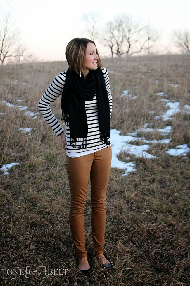 Black and white stripes with camel denim