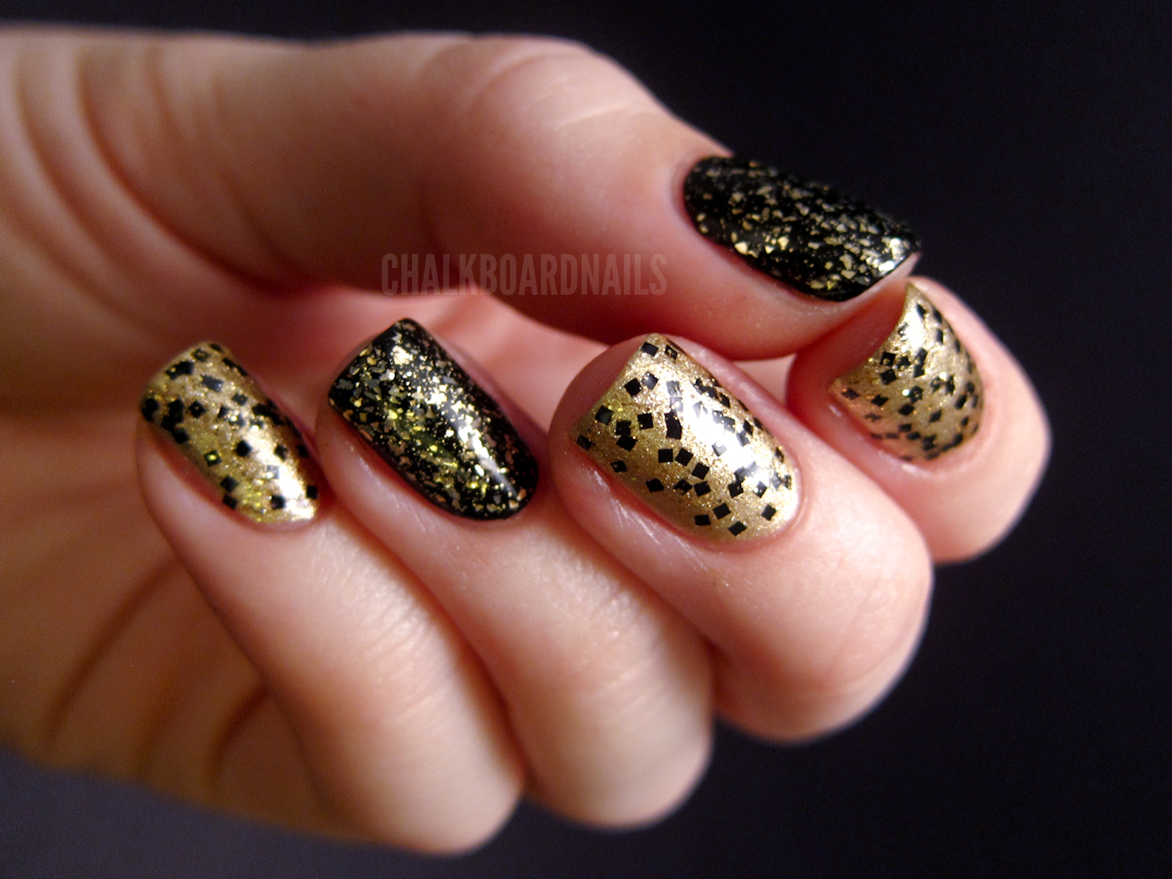 New Year\'s Eve Combo | Chalkboard Nails | Nail Art Blog