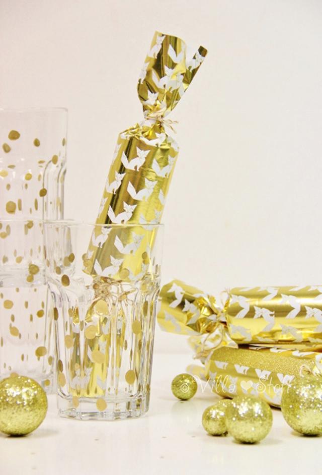 Silvesterdeko | Knallbonbons selbermachen & goldene Konfettigläser