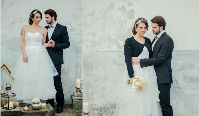 Opaska ślubna z koronką i perłami, PiLLow Design