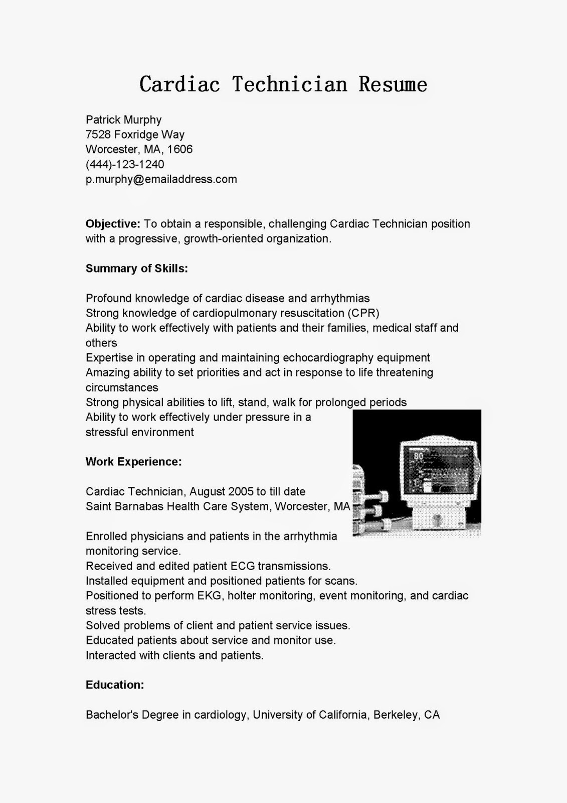 resume samples  cardiac technician resume sample