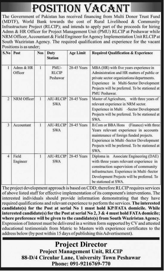 Field Engineer, Accountant and Admin Jobs in Multi Donor Trust Find, Peshawar