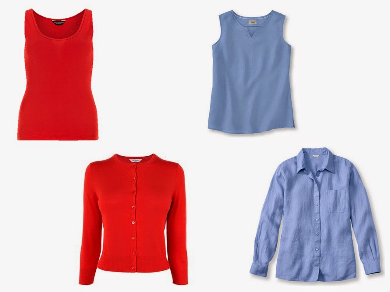 """two accent color """"twinsets"""" in red and blue"""