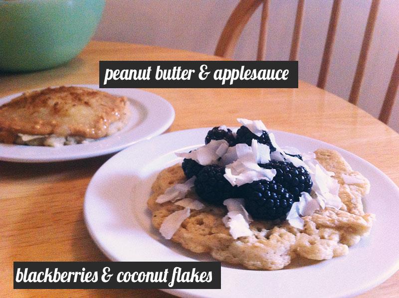 gluten free pancakes: peanut butter & applesauce, blackberries & coconut