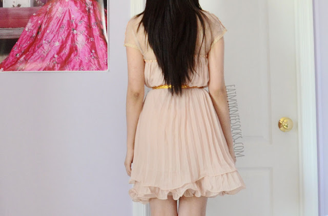 Back view of the flowy, pleated chiffon shift dress from SheIn.