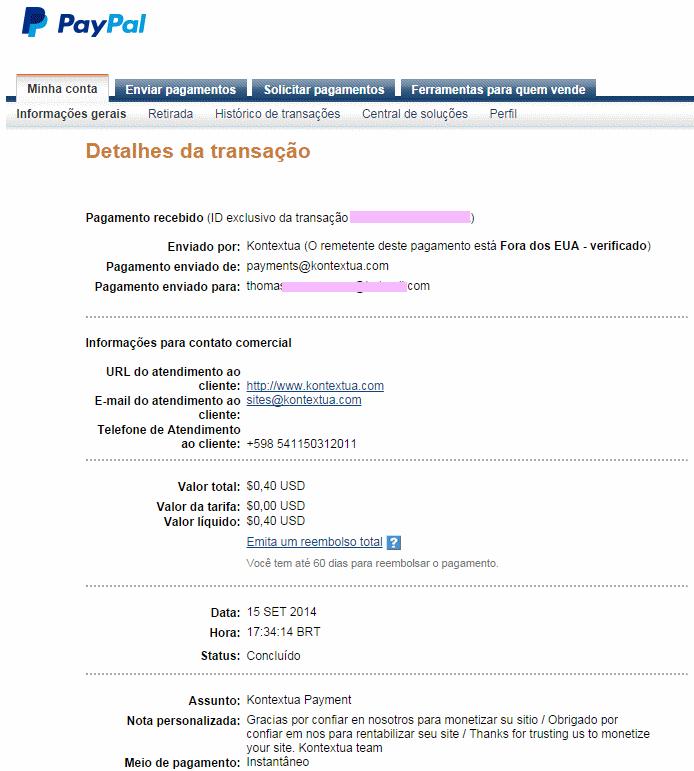 Conta do PayPal- Comprovante de pagamento Kontextua