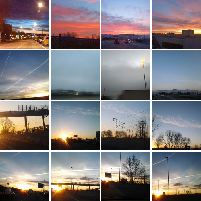 Tonalitats diverses del cel en fotografies preses en diferents dies, a les 8 del matí.
