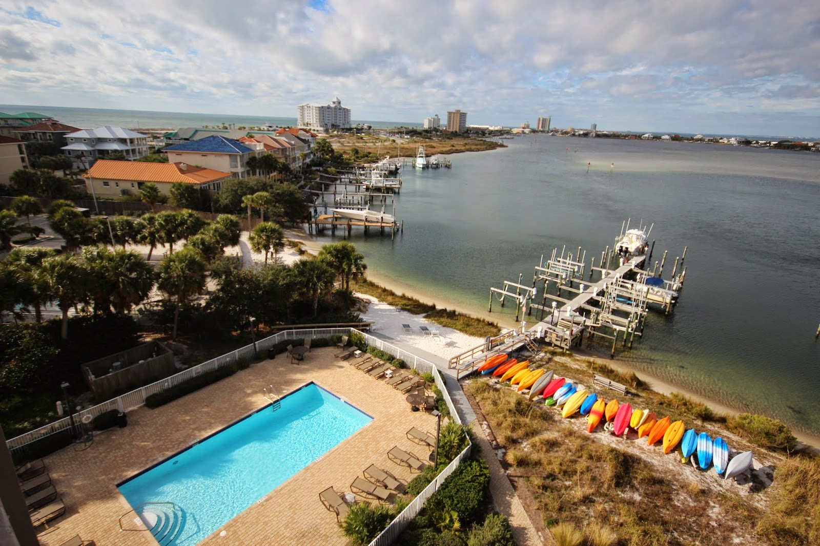 View from 6th floor balcony at South Harbour Condos overlooking Little Sabine Bay