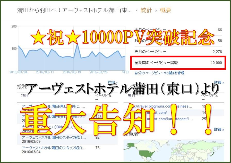 ★緊急告知★ 10000PV突破記念!アーヴェストホテル蒲田(東口)より重要なお知らせ