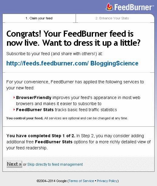 feedburner sudah jadi