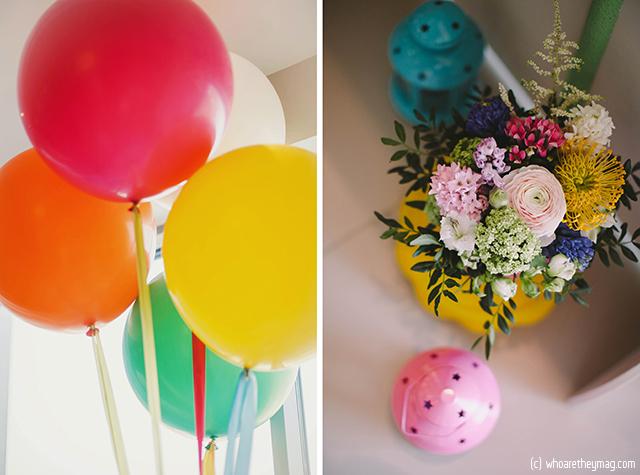 Воздушные шарики и цветы