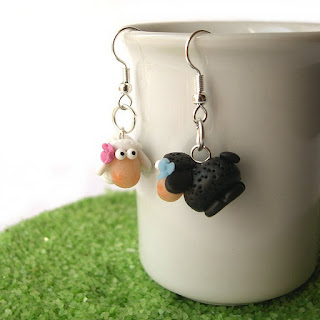 Sheep earrings in polymer clay