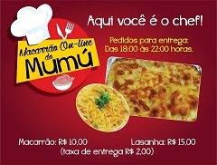Macarrão On-line do Mumú em Floresta; Fone: (87) 9 9942-6762