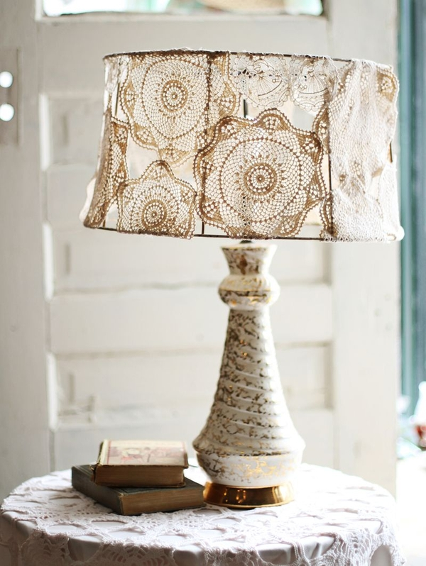 Dishfunctional designs vintage lace doilies upcycled and repurposed - Lamp shades diy ...