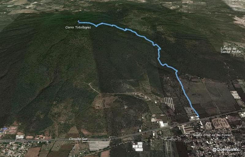 Ruta de ascenso Santa Cruz de las Flores - Cerro Totoltepec