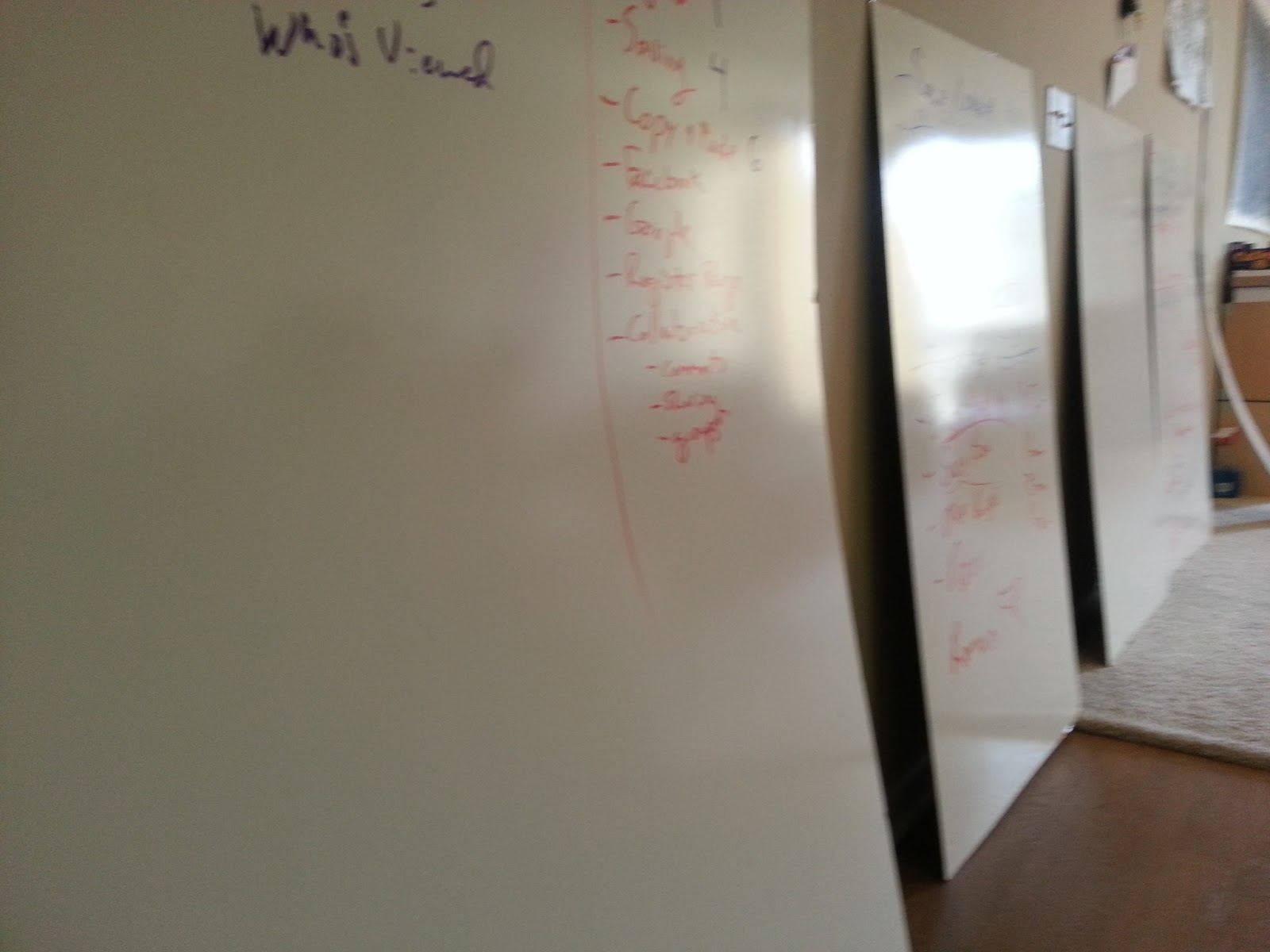 whiteboard lining the walls